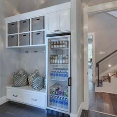 Perfect for a house with a pool so traffic stops in mud room. When a Mudroom has a beverage fridge. Yay or Nay? I think it's genius. By Geschke Group Architects Home Renovation, Home Remodeling, Home Decor Instagram, Mudroom Laundry Room, Interior Desing, Ikea Interior, Interior Decorating, Decorating Ideas, Boho Home