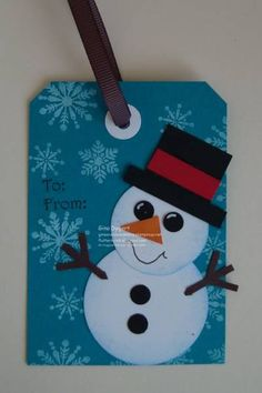Dress up your Christmas presents with this cute snowman tag.  Check out some of my other Christmas tags at my BLOG http://flutterbyink.blogspot.com/