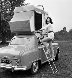 Stairway to Devon: British actress and model Marigold Russell demonstrates the 'Roofsleeper', a car tent mounted on a plinth shaped to suit the contours of a car roof Camping Humor, Camping Glamping, Outdoor Camping, Outdoor Gear, Camping Outdoors, Camping Ideas, Vintage Rv, Vintage Trailers, Vintage Campers