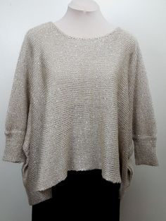 Elan One Size over-sized rectangle sweater poncho champagne beige sequins #Elan #Poncho