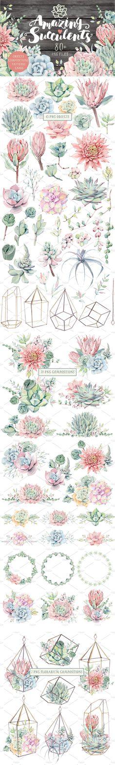 Watercolor Cactus, Watercolor Art, Pocket Wedding Invitations, Clip Art, Watercolor Wedding Invitations, Photoshop, Succulents, Succulent Plants, Graphic