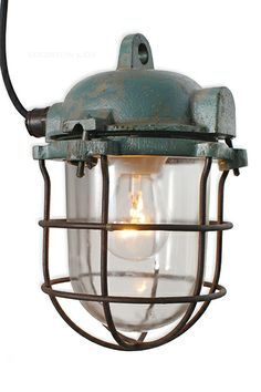Small round-head caged lamp #industriallamp