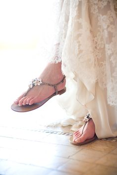 Beachy wedding sandals.