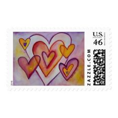 Interlocking Love Hearts Painting Postage Stamps stamp