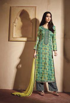 Green Grey designer Casual Wear Suit - Desi Royale