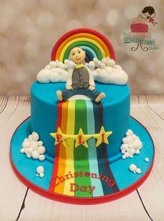 Rainbow Christening Cake  www.littlecakefairydublin.com www.facebook.com/littlecakefairydublin Little Cakes, Baby Shower Cakes, Christening, Birthday Cake, Rainbow, Facebook, Desserts, Food, Cakes Baby Showers
