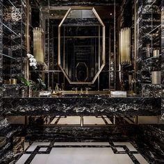 Now in its year, the Architectural Digest Design Show (AD Show for short) brings together the industry's top talents. Black Marble Bathroom, Modern White Bathroom, Small Bathroom, Bathroom Ideas, Gothic Bathroom, Bathroom Styling, Bathroom Interior Design, Bathroom Lighting Inspiration, Brown Bathrooms Designs