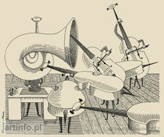 """Daniel Mróz, ilustracja """"Bajka o orkiestrze"""" - """"Do widzenia zwierzęta"""" L.J.Kern"""