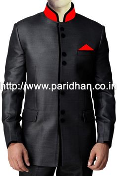 Classic look black nehru jacket made in pure polyester fabric.