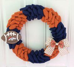 Denver Broncos burlap wreath w/ chevron bow and wooden football - Denver Broncos wreath - Broncos - Denver Broncos decor