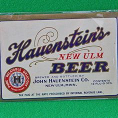 One Vintage (1934-1969) Hauenstein's New Ulm 12-Ounce Beer Label