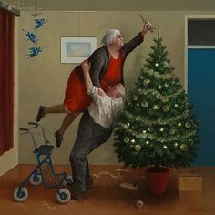 these two survived from last year and came back for another go. The wonderful Marius van Dokkum Dutch artist who is fab at painting 'old folk. Christmas Angels, Christmas Art, Christmas And New Year, Vintage Christmas, Illustration Noel, Christmas Illustration, Dutch Artists, Funny Art, Christmas Pictures