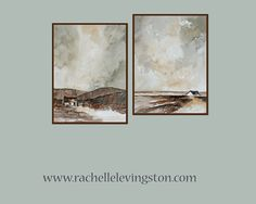 neutral wall art Landscape Watercolor painting Landscape painting watercolor kitchen art home decor PRINT SET brown vertical sepia 8 x10 on Etsy, £17.15