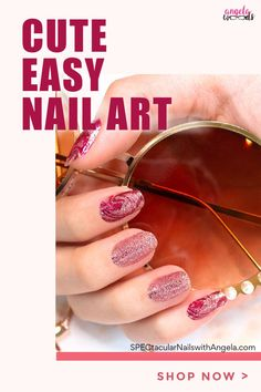 Searching for the perfect at home manicure? Get designer salon ready nails in minutes with Color Street. A designer manicure is only minutes away when you style your nails with Feeling Marble-ous, a sparkly deep and pale pink marbling! In just minutes, you'll have salon perfect nails at home with Color Street! #easynaildesign #colorstreetnails #athomemanicure