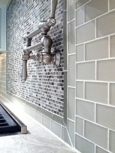 Smoke grey Glass Subway tile backsplash bathroom