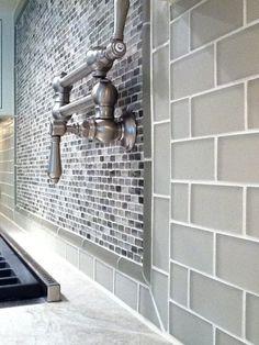 Smoke grey Glass Subway tile backsplash