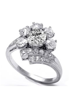 Art Deco Floral Diamond Engagement Ring