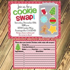 Christmas Cookie Exchange / Swap Party Invitation and Recipe Card Print Your Own 5x7 or 4x6