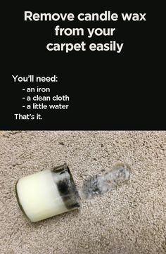 Need to get candle wax cleaned from your carpet? First, let the wax completely dry! So now, the wax is hardened on the carpet. Next, use a hot iron and clean cloth to absorb the wax and get your carpet clean. We recommend using professionals if you want the best results you can get, but this is a good DIY way to remove that candle wax from your carpet.