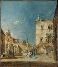 FRANCESCO GUARDI. IMAGINARY VIEW OF A VENETIAN SQUARE OR CAMPO. 1780 c.- oil on canvas. 31,4 × 27 cm. Provenance: 1973, Bequest of Lesley and Emma Sheafer Collection. New York. The Metropolitan Museum of Art. Inv. no. 1974.356.28.