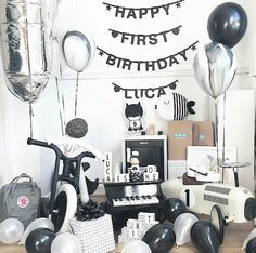 Black and white birthday for baby