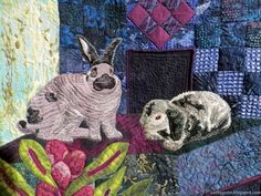 "closeup, ""Nine Lives Animal Shelter"", quilt by Ann Horton. Detail photo by Cathy Geier. 2014 Upper Midwest Quilt Show."