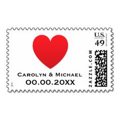 Red heart love modern wedding or Save the Date Postage Stamp