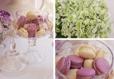 macarons - lavender, cream and green
