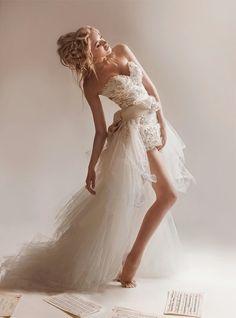 sexy wedding dress with short in front design #2012modernweddingdress