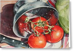 Tomato Reflections Greeting Card by Marsha Chandler