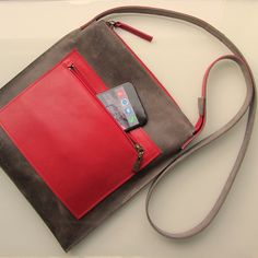 Leather medium size crossbody bag / messenger bag / laptop bag SQR in brown-grey/grey-brown and red cow leather by rinarts on Etsy Leather Laptop Bag, Leather Crossbody Bag, Leather Purses, Leather Shoulder Bag, Leather Bag, Handmade Bags, Cow Leather, Purses And Bags, Messenger Bag