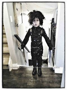 Epic Homemade Edward Scissorhands Halloween Costume for a Boy - 4