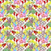 Vintage Rabbits by linsart, custom fabric