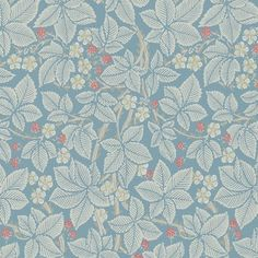Bramble Wallpaper Blackberry bushes on a blue background with an abundance of red berries and white flowers create this wonderful design from the Morris & Co collection.