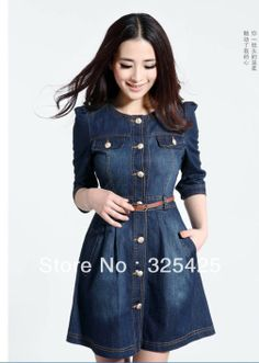 Women's vintage the disassemblable lace collar denim one-piece dress spring women dresses prom dresses free shipping US $28.00