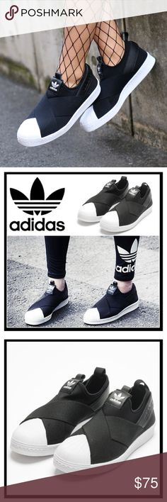 ADIDAS Originals Superstar Slip On Shoes NIB! In Black Slip into iconic style with the ultra-comfy Women's adidas Originals Superstar Slip-On Casual Shoes.  *Sleek neoprene upper with criss-cross elastic straps *Slip-on design for comfort *Low-key silhouette *Rubber sole with shell toe  ❌NO TRADES  I❤️Bundles ❤️REASONABLE OFFERS ONLY PLEASE❤️ adidas Shoes Sneakers