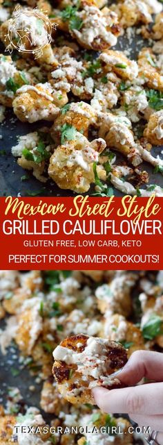 This Mexican Street Style Grilled Cauliflower is this ultimate keto and low carb cauliflower recipe! Grilled to caramel-ly perfection, drizzled with a garlicky crema and topped with salty Cotija cheese, this is Texas summertime keto comfort food at its be Keto Side Dishes, Veggie Dishes, Side Dish Recipes, Mexican Side Dishes, Good Side Dishes, Rib Side Dishes, Side Dishes For Burgers, Health Side Dishes, Side Dishes For Steak