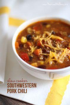 Slow Cooker Southwestern Pork Chili.  My new favorite chili recipe.  So good!