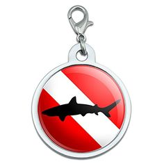 Diving Flag  Scuba Diver Dive  Shark Large Chrome Plated Metal Pet Dog Cat ID Tag ** Read more  at the image link. (Note:Amazon affiliate link)