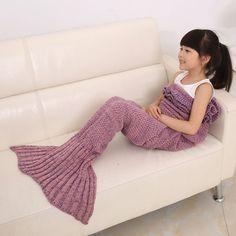 $16.52 2016 Fashion Fish Scale Tail Shape Flouncing Sleeping Bag Mermaid Design Knitting Blanket For Children