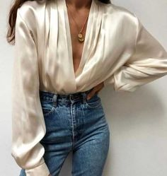 satin top blouse with jeans and coin necklaceSilk satin top blouse with jeans and coin necklace ❀ Valentina Romée ❀ Satin Button Up Long Sleeve Blouse Aerin Bodysuit V neck Long Sleeve Top Your Autumn 2018 Shopping List From Our Editors Pretty Outfits, Cool Outfits, Casual Outfits, Summer Outfits, Nude Outfits, Fashion Outfits, Fashion Ideas, Fashion Fashion, Womens Fashion