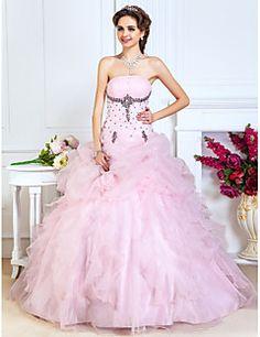 A-line+golyóruha+hercegnő+vállnélküli+padlóhossz+organza+prom+quinceanera+ruha+gyöngyház+ts+couture®+–+EUR+€+438.59