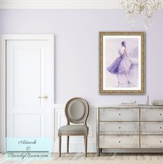 The Lavender Dress - fashion art print based on a watercolor painting by artist…