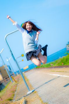 on in 2020 Action Pose Reference, Human Poses Reference, Pose Reference Photo, School Girl Japan, Japan Girl, Action Posen, Jumping Poses, Personajes Studio Ghibli, Japanese Model