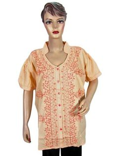 Women Bohemian Top Orange Red Floral Embroidered Cotton Blouse Tunic Top Xxl Mogul Interior. $14.99. Save 42%!