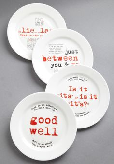 Everyone needs these around their house!  Teach good english while they're young or it's never too late to learn.  Gourmet Grammarian Dish Set | Mod Retro Vintage Kitchen | ModCloth.com