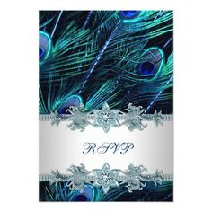 Peacock Wedding Invitations Royal Blue Silver Indian Peacock Wedding RSVP Card