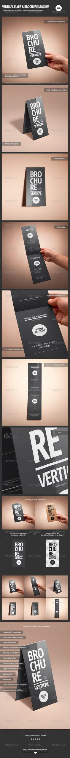 Vertical Flyer & Brochure Mock-Up. Present your flyer or brochure in incredibly photorealistic way.Features* 5 photorealistic presentation* 3 cover or back side presentation* 2 inside presentation* Based on 2 x DL natural size format* Photorealisti… Brochure Mockup, Business Brochure, Mockup Photoshop, Leaflet Design, Flyer Layout, Print Templates, Design Templates, Graphic Design Print, Presentation Templates
