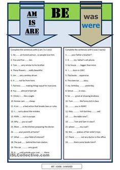 This is a worksheet about Be ( am , is , are , was , were). learner can practice and learn use of ( am , is , are , was , were ) . there are useful sentences for beginner and elementary learners. - ESL worksheets