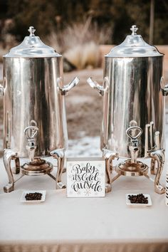 "Winter wedding reception, coffee station, ""Baby It's Cold Outside"" sign, coffee beans, repin to your own inspiration board // Emily Joanne Wedding Films & Photography"